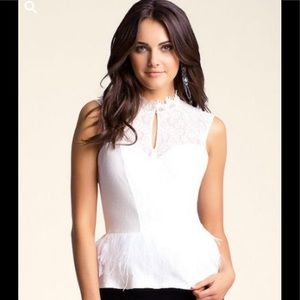 BEBE Feathered Lace Peplum Top